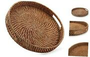 Round Rattan Woven Serving Tray With Handles 13.8 Inch X2 Inch Honey Brown