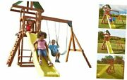 Scrambler Playset With Two Swings Slide And Rock Wall Yellow