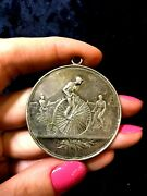 1894 Mamers ,french Runner Up Cycling Championship Bicycle Silver Sport Medal