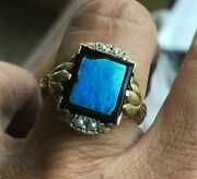 Antique Victorian 10k Gold Hand Wrought Fire Opal Onyx And Seed Pearl Ring