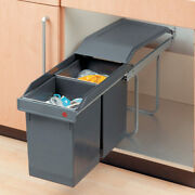 Two Trash Can Cabinet Rollout Garbage Pullout For Kitchen Wastebins 2-15 L