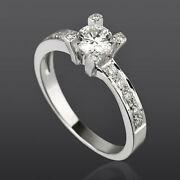Earth Mined Solitaire And Accents Diamond Ring Vvs Women 18k White Gold 1.05 Ct
