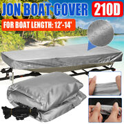 For Jon Boat Cover 210d Silver Waterproof Sun Protection Boat Length 12and039-14and039