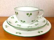 Wileman Foley China England Antique Shamrock Trio Set Cup And Saucer And Plate Shell