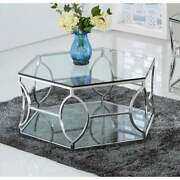 Best Master Furniture Octagon Glass Coffee Table Silver Glam Modern And Contempor