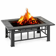 Ikayaa 37 Patio Square Firepit Stove Brazier Firepit Cover Poker Bbq Grill E0v4