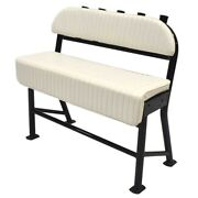 Boat Leaning Post Seat   W/ Rod Holders 43 3/4 X 42 Inch White Black