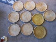 Lot Of 10 Wicker Rattan Woven Paper Plate Holders. Picnics Camping, 2 Yellow