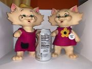 2 Vintage 1969 Rox Des Kitty Cats Plastic Bank Promo Coin Banks Need Tlc
