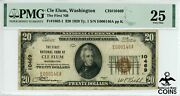 1929 Usa 20 Cle Elum Wa Brown Seal Note Ch10469 Low S/n Pmg 25 Vf Rare