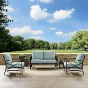 Kaplan 3 Pc Outdoor Seating Set With Mist Cushion - Oil Rubbed Bronze 137.5w X