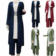 Womens Muslim Three Piece Casual Clothes Simplicity Lslamic Long Robe Outfits Uk