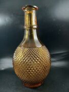 Vintage 10 Amber Glass Rossini Empoli Diamond Point Decanter Made In Italy
