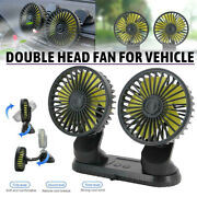12v Dual Head Car Fan Portable Vehicle Truck 360° Rotatable Auto Cooling Top