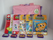 Leappad Learning System Purple Pink Bag Backpack Case 5 Books Cartridges Lot