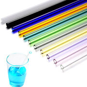 1pc New Reusable Straight Pyrex Glass Drinking Straw Simple Party Pure Color