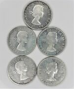 Lot Of 5 Canada Silver Dollar Coins-1963,1958,1958,1961,1963.