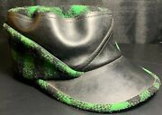 Vintage 1950s Green Plaid And Leather Huntingandnbsphat With Ear Flaps