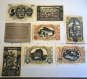 7 German Antique Notgeld Notes Fake Paper Money 1922 Germany Beautiful Color