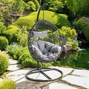 Kylie Cushioned Hanging Wicker Basket Chair By Christopher
