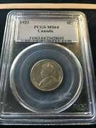 1923 Pcgs Graded Canadian 5 Cent Ms-64..