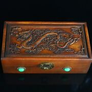 Antique Vintage Chinese Rosewood Carved Dragon Statue Jewelry Box Collectibles
