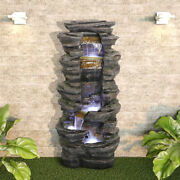 Outdoor Fountain Rockery Stacked Stone Garden Patio Decoration With Led Lights