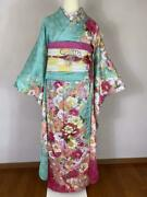 Used Furisode 6-piece Set Coming-of-age Ceremony Taisho Roman Gold Embroidery