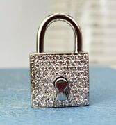 Roberto Coin 18k White Gold Diamond Padlock Pendant Or Charm - Opens And Closes