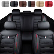 5 Car Seat Cover Full Set Waterproof Faux Leather 2+3 Cushion Covers Universal