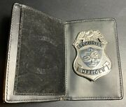 Heavy Security Officer Metal Badge Silver Color Finish And Leather Badge Holder