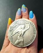 French Air And Space Force Aviation Silver Art Military Medal 88 Gr 60mm
