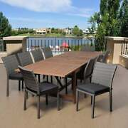 Amazonia Valerie 11 Piece Wood And Wicker Extendable Dining