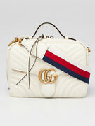 White Leather Gg Marmont Small Shoulder Bag
