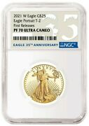 2021 Gold American Eagle 1/2 Oz Ngc Pf70 Ultra Cam Type 2 1st Releases
