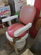 Antique Barber Chair With Razor Strap - Theo-a-kochs