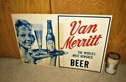 1950and039s Van Merritt Beer Woman With Tray Of Beer Standee Sign Chicago Illinois