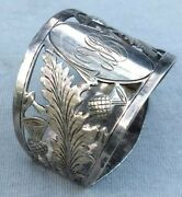 Antique English Estate Sterling Silver Napkin Rings Pierced And Engraved Thistles