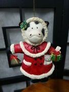 Christmas Ornament -cow In Red/white Dress Holdinng Cow Bell/gift Cat In Pocket