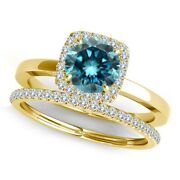 1.75 Carat Blue Diamond Fancy Solitaire Halo Wedding Band Ring 14k Yellow Gold