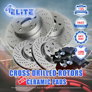 F+r Cross Drilled Rotors And Pads For 2011-2015 Chevrolet Silverado 3500hd W/drw