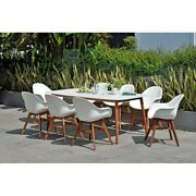 Amazonia Hawaii Wood And Resin 9pc Outdoor Patio Dining Set White Set 9 Piece