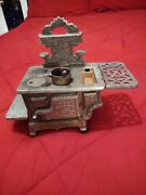 Antique Miniature Crescent Cast Iron Stove Salesmanand039s Sample Used Collectible