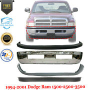 Front Bumper Chrome + Upper And Lower Cover For 1994-2001 Dodge Ram 1500 2500 3500