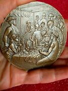 Luncheon Of The Boating Party Renoir French Art Nouveau/deco Bronze Medal /in Us