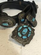 Vintage Navajo Two Dog Turquoise And Sterling Silver Concho Belt