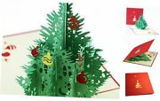 Christmas Cards, 3d Pop Up Christmas Tree Greeting Pack Of 8 3d Christmas Tree