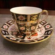 Vintage 1977 Royal Crown Derby Old Imari Cup And Saucer Bone China England
