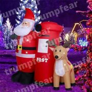 6ft Commercial Inflatable Santa Claus With Raindeer For Christmas Advertising