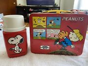 Vtg Peanuts Snoopy Charlie Brown Metal Lunchbox With Thermos High Grade C8 1969